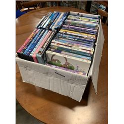 Box of various DVDs