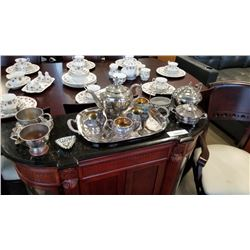 SILVER PLATE TEAPOTS, CREAM AND SUGARS, TRAY