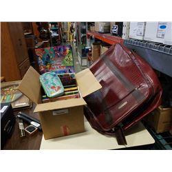 BOX OF KIDS BOOKS AND LUGGAGE BAG