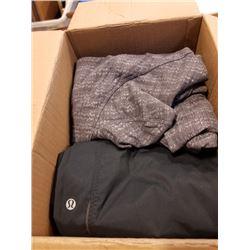 BOX OF LULULEMON CLOTHING SIZE 6 AND 8
