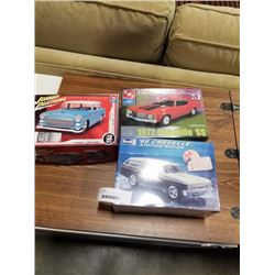 3 MODEL CAR KITS - JOHNNY LIGHTNING, 72 CHEVELLE AND 66 CHEVELLE