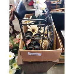 BOX OF CANDLE HOLDERS, DECORATIVE MIRROR