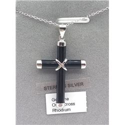 STERLING SILVER GENUINE BLACK ONYX CROSS PENDANT W/ STERLING CHAIN W/ APPRAISAL $545, 6CTS BLACK ONY