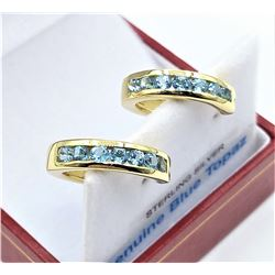 STERLING SILVER YELLOW GOLD PLATED GENUINE BLUE TOPAZ HOOP EARRINGS W/ APPRAISAL $865 - 14 BLUE TOPA