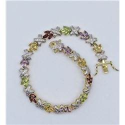 STERLING SILVER YELLOW GOLD PLATED GENUINE GEMSTONE BRACELET W/ APPRAISAL W/ $2670, 5.04CTS GEMSTONE