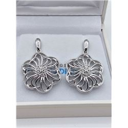 STERLING SILVER GENUINE DIAMOND FLORAL EARRINGS W/  APPRAISAL $1000, 14 DIAMONDS 0.08CTS
