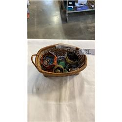 BASKET OF JEWELLERY - NATIVE, BEADED, WOOD, ETC