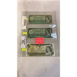 LAST 3 ISSUES OF CANADIAN 1 DOLLAR - 1954, 1967, 1973