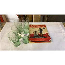 1938 CHILDRENS ACTIVITIES BOOKLET AND 6 COCA COLA GLASSES