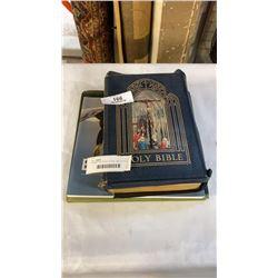 2 ROBERT BATEMAN COFFEE TABLE BOOKS AND VINTAGE BIBLE
