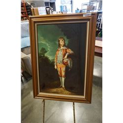 Oil on board by J. Roman and brass picture stand