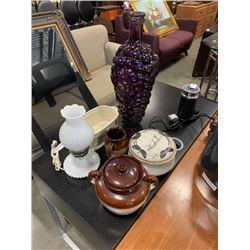 Lot of english crocks, grapevine vase and milk glass lamp