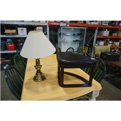 BRASS TABLE LAMP AND CORNER BENCH