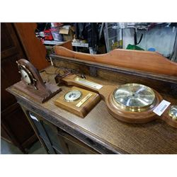 GE mantle clock and 2 barometers