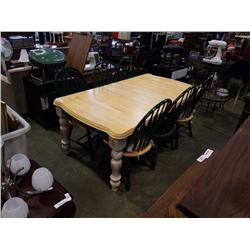 WOOD AND GREEN DINING TABLE WITH LEAF AND 6 CHAIRS
