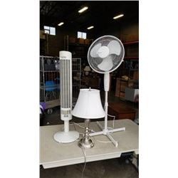 FLOOR FAN, TOWER HEATER AND TABLE LAMP