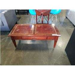 VINTAGE LEATHER INSERT 1 DRAWER COFFEE TABLE