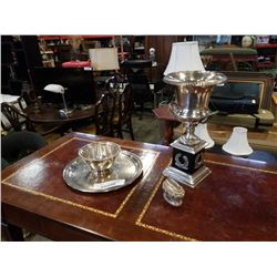 SILVER PLATE TRAY, BOWL, LIGHTER, AND HEAVY TROPHY