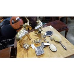 Lot of silver plate and brass items