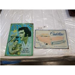 CADILLAC AND ELVIS TIN SIGNS