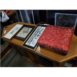 3 ORIENTAL PRINTS AND SMALL STOOL
