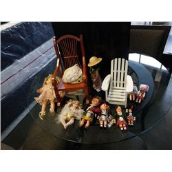 LOT OF ANTIQUE DOLLS  CERAMIC, SCOTTISH, ETC, AND 2 DOLL ROCKING CHAIRS