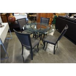 MODERN ROUND GLASSTOP DINING TABLE WITH 4 CHAIRS