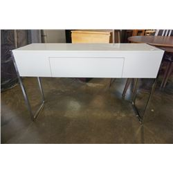 WHITE AND CHROME 1 DRAWER STAND