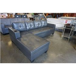 FLOOR MODEL GREY AIR LEATHER 2 PC SECTIONAL SOFA W/ CUPHOLDERS, AND REMOVABLE PILLOW BACKS, RETAIL $