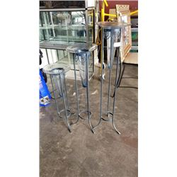 3 METAL STANDS WITH GLASS VASES