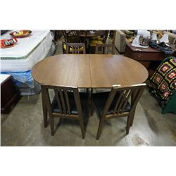 MODERN OVAL DINING TABLE WITH JACKNIFE LEAF AND 4 DINING CHAIRS