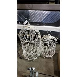 2 WHITE WIRE METAL BIRD CAGE DECORATIONS