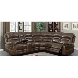 BRAND NEW BROWN AIR LEATHER STUDDED 3PC RECLINING SECTIONAL SOFA W/ CONSOLE - RETAIL $2599
