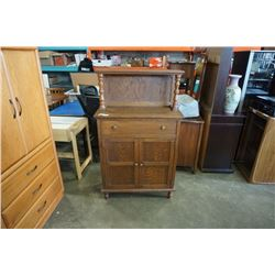 ANTIQUE OAK CABINET WITH GALLERY