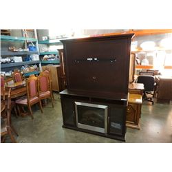 BUHLER FURNITURE CHOCOLATE MAPLE FIREPLACE MANTLE WITH TV MOUNT WITH ELECTRIC FIREPLACE