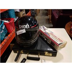 SHOEI MOTORCYCLE HELMET, BRIEFCASE AND COVERITE SKI WAX IRON