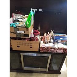 2 TRAYS AND BOX OF CANDLES, KITCHEN ITEMS, ESTATE GOODS