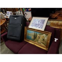 2 FRAMED PRINTS AND LUGGAGE BAG