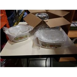 2 CORNING WARE BAKING DISHES WITH LIDS