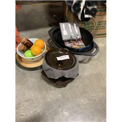 LOT OF BAKEWARE, PANS, PYREX BOWL