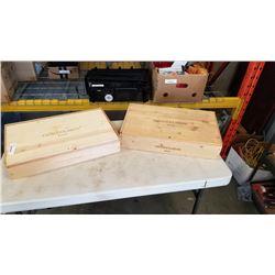 2 wood wine crates