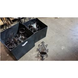 2 METAL BOXES WALK MOUNT MIRRORED CANDLE HOLDERS