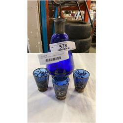 BLUE GLASS SILVER OVERLAY DECANTER AND 3 GLASSES