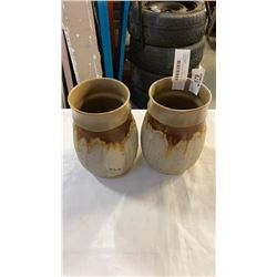 2 BLUE MOUNTAIN POTTERY VASES 8 1/2 INCHES TALL