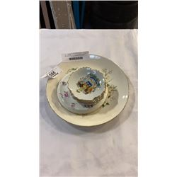 SPRING BLOSSOM GEORGE CHINA 22KT GOLD PLATE,  STAFFORDSHIRE MADE IN ENGLAND DISH, AND 4 HAND DECORAT