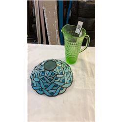 GREEN GLASS PITCHER AND LEADED GLASS SHADE