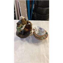 EASTERN HAND PAINTED CUP AND SAUCER, AND MUD MAN FIGURE