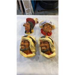 4 BOSSON HEADS - TECUMSEH, RAWHIDE, AND 2 KARIM