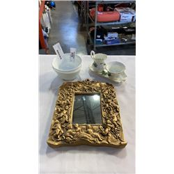 THORLEY CREAM AND SUGAR SET CORELLE BOWLS AND FRAMED MIRROR