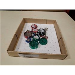 TRAY OF GRINDERS AND PIPES